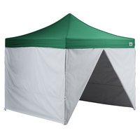 Backyard Pro AL Series 10' x 10' Green Straight Leg Aluminum Instant Canopy Deluxe Kit with 4 Side Walls