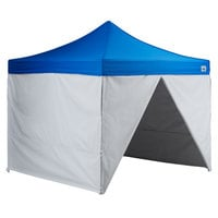 Backyard Pro Courtyard Series 10' x 10' Blue Straight Leg Aluminum Instant Canopy Deluxe Kit with 4 Side Walls