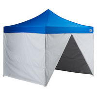 Backyard Pro AL Series 10' x 10' Blue Straight Leg Aluminum Instant Canopy Deluxe Kit with 4 Side Walls