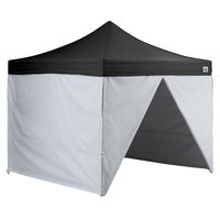 Backyard Pro AL Series 10' x 10' Black Straight Leg Aluminum Instant Canopy Deluxe Kit with 4 Side Walls
