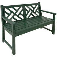 POLYWOOD CDB48GR Green 47 1/2 inch x 24 1/4 inch Chippendale Bench