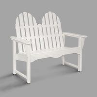 POLYWOOD ADBN-1WH White 48 1/2 inch x 28 inch Classic Adirondack Bench