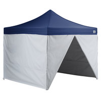 Backyard Pro AL Series 10' x 10' Navy Straight Leg Aluminum Instant Canopy Deluxe Kit with 4 Side Walls