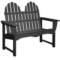 POLYWOOD ADBN-1BL Black 48 1/2 inch x 28 inch Classic Adirondack Bench