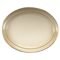 Homer Laughlin 1420-0353 Westminster Gothic Off White 13 1/8 inch Oval Platter - 12/Case
