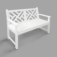 POLYWOOD CDB48WH White 47 1/2 inch x 24 1/4 inch Chippendale Bench