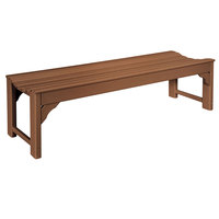 POLYWOOD BAB160TE Teak 60 inch x 20 inch Traditional Garden Backless Bench