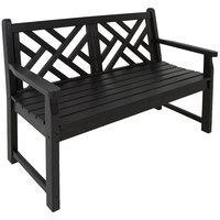 POLYWOOD CDB48BL Black 47 1/2 inch x 24 1/4 inch Chippendale Bench