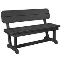 POLYWOOD PB48BL Black 48 inch x 20 1/2 inch Park Bench