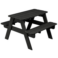 POLYWOOD KT130BL Black 30 inch x 33 inch Kids Picnic Table with Seating