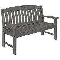 POLYWOOD NB48GY Slate Grey 51 3/4 inch x 25 inch Nautical Bench