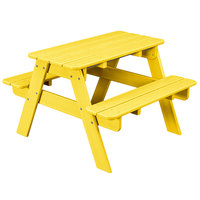POLYWOOD KT130LE Lemon 30 inch x 33 inch Kids Picnic Table with Seating