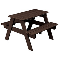 POLYWOOD KT130MA Mahogany 30 inch x 33 inch Kids Picnic Table with Seating