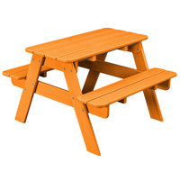POLYWOOD KT130TA Tangerine 30 inch x 33 inch Kids Picnic Table with Seating