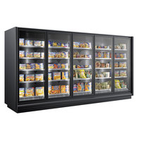 Federal Industries ZM-4-30 122 7/8 inch ZeroShelf Black Remote Medium Temperature Refrigerated Glass Door Merchandiser with Four 30 inch Wide Doors