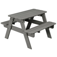 POLYWOOD KT130GY Slate Grey 30 inch x 33 inch Kids Picnic Table with Seating