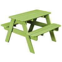 POLYWOOD KT130LI Lime 30 inch x 33 inch Kids Picnic Table with Seating