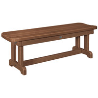 POLYWOOD PBB48TE Teak 48 inch x 14 1/2 inch Backless Park Bench
