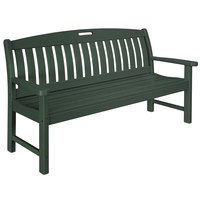 POLYWOOD NB60GR Green 63 3/4 inch x 25 inch Nautical Bench