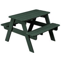 POLYWOOD KT130GR Green 30 inch x 33 inch Kids Picnic Table with Seating