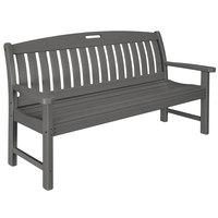 POLYWOOD NB60GY Slate Grey 63 3/4 inch x 25 inch Nautical Bench