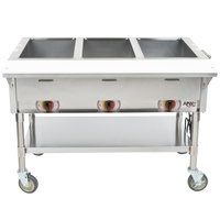 APW Wyott PST-3S Three Pan Exposed Portable Steam Table with Stainless Steel Legs and Undershelf - 1500W - Open Well, 120V