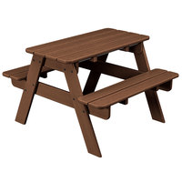 POLYWOOD KT130TE Teak 30 inch x 33 inch Kids Picnic Table with Seating
