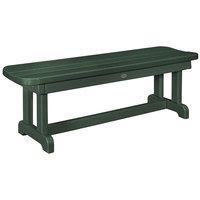 POLYWOOD PBB48GR Green 48 inch x 14 1/2 inch Backless Park Bench