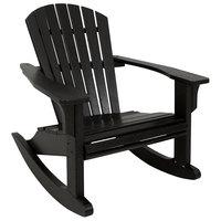 POLYWOOD SHR22BL Black Seashell Rocking Chair