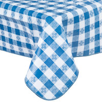 52 inch x 90 inch Blue Checkered Gingham Vinyl Table Cover with Flannel Back