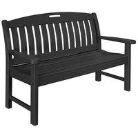 POLYWOOD NB48BL Black 51 3/4 inch x 25 inch Nautical Bench