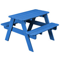 POLYWOOD KT130PB Pacific Blue 30 inch x 33 inch Kids Picnic Table with Seating