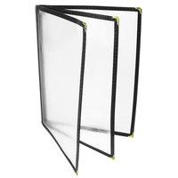 8 1/2 inch x 11 inch Menu Solutions SE340C Three Pocket Menu Cover - Clear