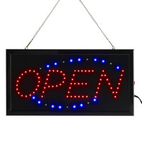 Choice 19 inch x 10 inch LED Rectangular Italic Open Sign with Two Display Modes