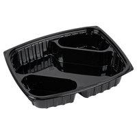 Dart B30DX3 ClearPac 30 oz. Black Rectangular 3 Diagonal Compartment Plastic Container - 252/Case
