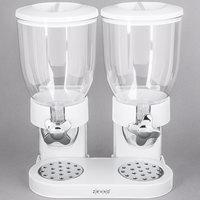 Zevro KCH-06123 White Double Canister Dry Food Dispenser