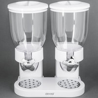Zevro KCH-06123 White Double Canister Dry Food Dispenser