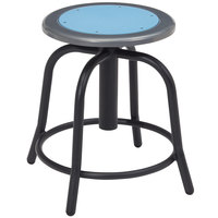 National Public Seating 6805-10 Black 18 inch - 24 inch Adjustable Swivel Lab Stool with Blueberry Steel Seat