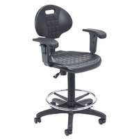 National Public Seating 6722HB-A Kangaroo Swivel Industrial Stool with Foot Ring and Arms