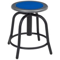 National Public Seating 6825-10 Black 18 inch - 24 inch Adjustable Swivel Lab Stool with Persian Blue Steel Seat