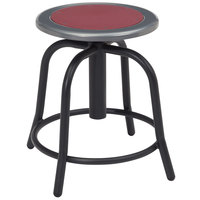 National Public Seating 6818-10 Black 18 inch - 24 inch Adjustable Swivel Lab Stool with Burgundy Steel Seat