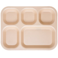 Carlisle PCD80125 10 inch x 14 inch Tan 5 Compartment Polycarbonate Tray