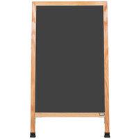 Aarco A-1B 42 inch x 24 inch Oak A-Frame Sign Board with Black Write On Chalk Board