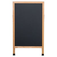 Aarco A-1B 42 inch x 24 inch Oak A-Frame Sign Board with Black Write On Chalk Board