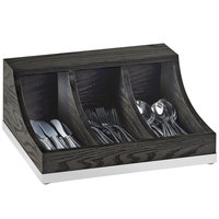 Cal-Mil 3802-87 Cinderwood 3-Section Flatware / Condiment Organizer - 13 3/4 inch x 10 inch x 6 inch