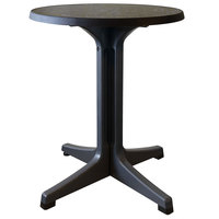 Grosfillex US287744 Omega 24 inch Round Dark Concrete Table with Charcoal Base