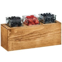 Cal-Mil 3836-3-99 Madera Rustic Pine Action Station Glass Jar Unit - 15 3/4 inch x 5 1/2 inch x 8 3/4 inch