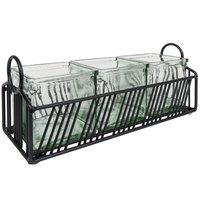 Cal-Mil 4101-3-13 Portland Black Condiment Organizer with 3 Glass Jars - 12 1/2 inch x 4 1/2 inch x 5 1/4 inch