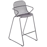 Grosfillex US139713 Ramatuelle '73 Gris Pavement Stackable Indoor / Outdoor Barstool - 2/Pack