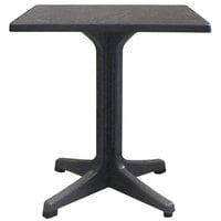 Grosfillex US283744 Omega 28 inch Square Dark Concrete Table with Charcoal Base